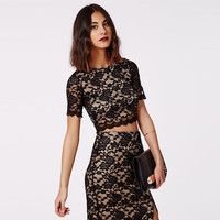 Black Floral Lace Crochet Hem Crop Top