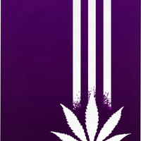 420 Black and deep purple Apple iPhone mobile phone case, ganja leaf and three stripes