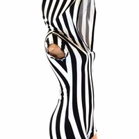 Black & White Striped Cap Sleeve Hoodie Romper