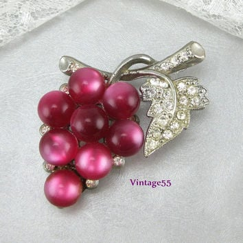 Vintage Brooch Grape Rhinestone Lucite Moonglow 1940's