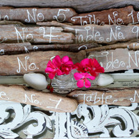Rustic Bark Table Markers , Beach Wedding Table Numbers , Coastal Wedding Decoration Hand Painted