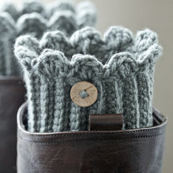 One pair of grey boot cuffs / buttons grey boot cuffs / gray boot socks / boot toppers / boot warmers / buttoned boot cuffs