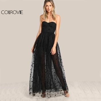 COLROVIE Black Sexy Bustier Party Dress 2018 Star Flock Cute Women Mesh Overlay Maxi Summer Dress Strapless Sheer Cut Out Dress