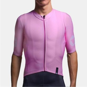 2018 TOP QUALITY PRO TEAM aero PINK Short sleeve cycling jerseys race tight fit Bicycle clothing cool gear free shipping