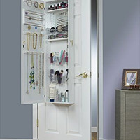 Armoire Jewelry Cabinet Box Storage Chest Organizer Necklace White Over Door