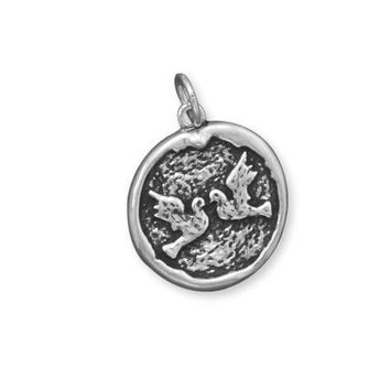 Oxidized Disc Pendant with Doves