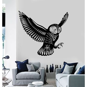 Vinyl Wall Decal Flying Bird Owl Wings Feathers Tribal Kids Room Stickers Mural (g2999)