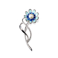 Inviting Blue Floral Brooch