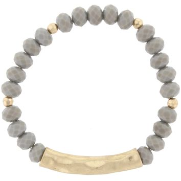 Beaded Hammered Bracelet- Grey