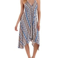 Strappy Printed Handkerchief Trapeze Dress