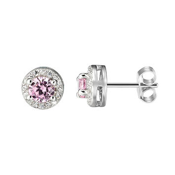 Designer Iced Out 14k White Gold Tone Sterling Silver round Light Pink Solitaire Earrings