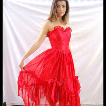 Vintage Red Formal Dress, 1970s, Party Dress, Tea Length, Tiered Crinolines, Ruffles, Burlesque,Steampunk, Size Small (No label)