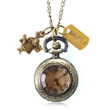 2016 New Alice In Wonderland Drink Me Tag Dark Brown Quartz Pocket Watch Lovely Women Girl Ladies Pendant Chain Gift