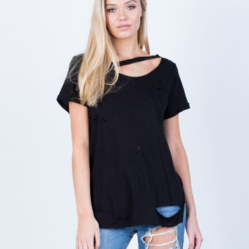 Cut Out Distressed Tee