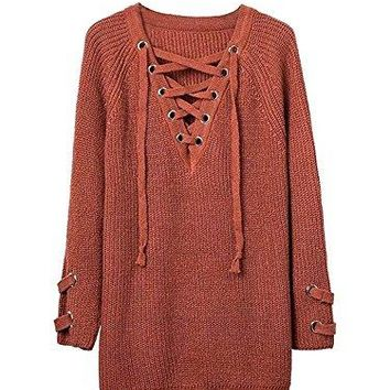 Shining4U Women's Long Sleeve Lace up Knit Pullover Sweater Dress