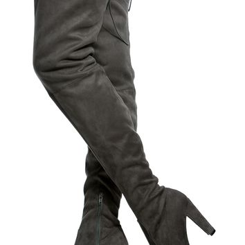 Charcoal Faux Suede Chunky Thigh High Boots @ Cicihot Boots Catalog:women's winter boots,leather thigh high boots,black platform knee high boots,over the knee boots,Go Go boots,cowgirl boots,gladiator boots,womens dress boots,skirt boots.