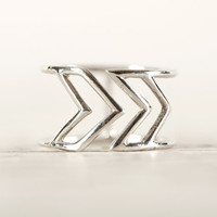 Stackable Ring Chevron Wire Ring Sterling Silver Adjustable Ring Wrap Ring Boho Jewelry - FRI009 SS
