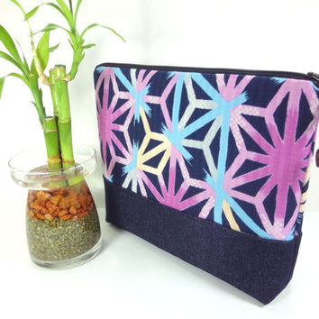 Large Travel Pouch, KImono Cosmetic Bag, Great Gift Idea, Padded Make-up Bag Japanese Kimono Cotton Fabric Traditional Patterns