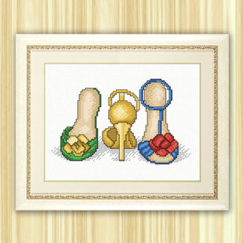 Cross Stitch Pattern PDF- Girlfriend-shoes. Female shoes, original gift, yellow, for embroidery, Hand Made pattern. instant download.