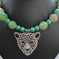 Sparkling Leopard Pendant on Green Beads Necklace by BijouxEmmElle