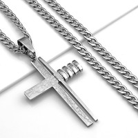 "24"" MENS Stainless Steel 6mm Silver Cuban Link Chain Necklace Cross Pendant"