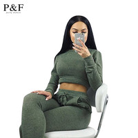 2016 Women Two Piece Outfits Pants Set Rompers Jumpsuit Long Pants 2 Piece Set army green o neck Crop Tops Bodycon Palysuit gray