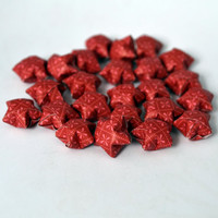 Paper Stars - Red Cranberry - Flower Print - 24 Stars - Handmade Origami Stars - Lucky Paper Stars - Limited Edition! - Decor Decoration