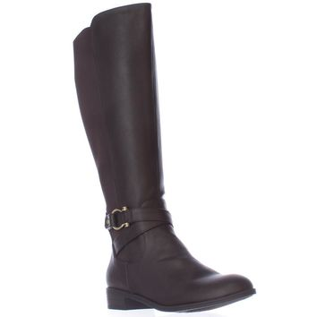 KS35 Davina Wide Calf Riding Boots, Brown, 9 US