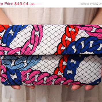 ON SALE Bridal Bridesmaid Clutch - Clutch - Chain Print - Unique Wedding Clutch Purse - Pink Blue White Clutch - Formal Prom Clutch Bag