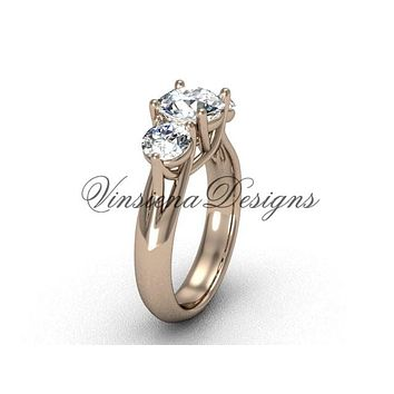 "14kt rose gold Three stone engagement ring, ""Forever One"" Moissanite VD10017"