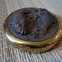 Vintage Brass Bronze Paperweight Koi Fish Goldfish Pisces Sculpture Art Carving Chinese Asian