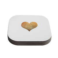 "Suzanne Carter ""Gold Heart"" Glam Coasters (Set of 4)"