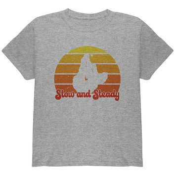 Sloth Slow and Steady Retro Sunset Youth T Shirt