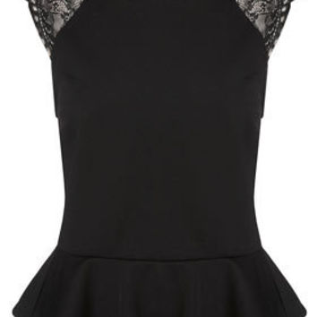 Lace Back Peplum Top - Tops - Clothing - Topshop