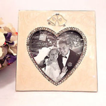 Wedding Picture Frame Rhinestone Heart Silver Metal Easel Back Vintage Russ Gift