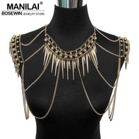 Punk Type Multi Layers Nail Pendant Tassel Body Chains Necklaces