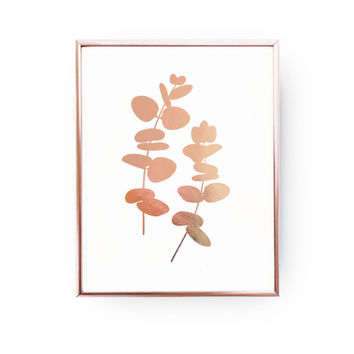 Rose Gold Foil Print, Eucalyptus Print, Rose Gold Flower Illustration, Plant Poster, Flower Decor, Floral Wall Decor, Eucalyptus Wall Art