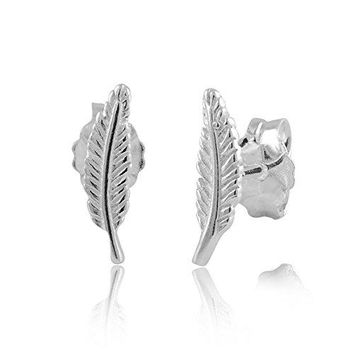 Sterling Silver Small Feather Stud Earrings