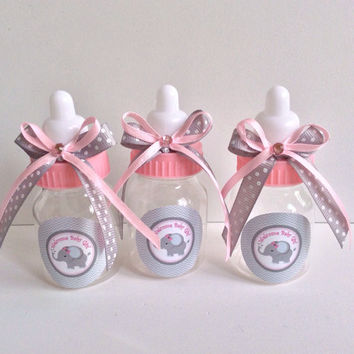 12 Baby Elephant girl baby shower favors -Elephant theme baby bottles- elephant baby shower-pink and gray baby shower-girl baby shower favor
