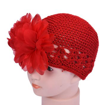 Winter Fashion Baby Kids Girls Flower Lace Hair Band Headband Headwear Hat Warm Knitted Toddlers Infant Baby Girl Cap