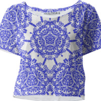 Indigo Blue And White Vintage Floral Patterned Summer Crop Top Tee created by Pasion4Fashion | Print All Over Me