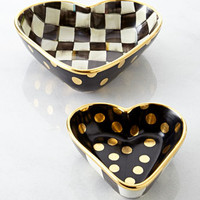 MacKenzie-Childs Courtly Check Heart Bowls