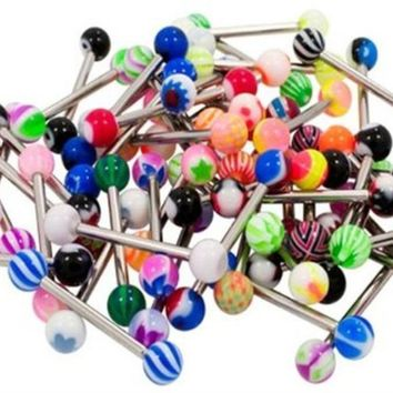 Tongue Ring Assorted Lot of 10 Stainless Steel Piercing Barbells 14 Gauge (10 ...
