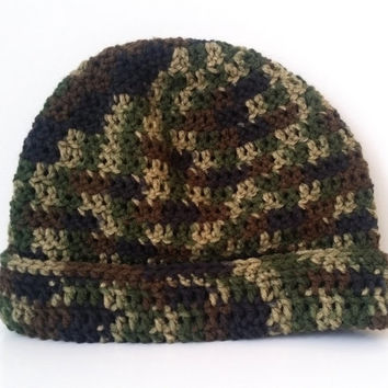 Mens Beanie, Camo Hat, Fitted Handmade Beanie, Unisex Any Color crochet hat