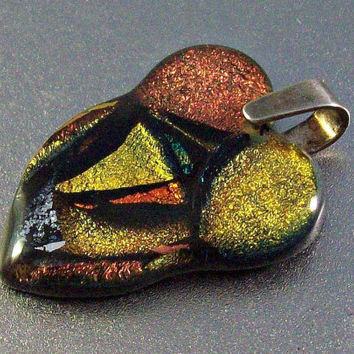 Dichroic Foil Glass Pendant, Sterling Bale  Free Form Heart