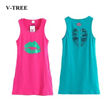 V-TREE Summer girls dress cotton dresses for girls hollow out girl clothes princess child costumes for teenagers 8 10 12