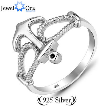 Genuine 925 Sterling Silver Fashion Brand Designer Jewelry Finger Silver Anchor Rings (JewelOra Ri101177)