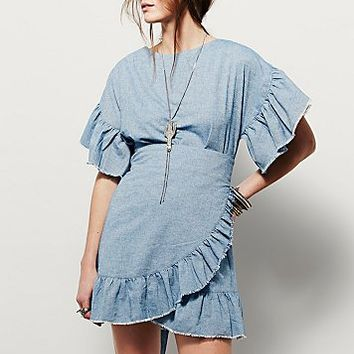 Free People Womens Wrapped In Ruffles Dress