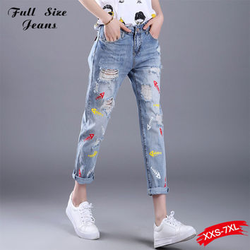 Top Quality New Denim Loose Nine Ripped Pencil Jeans Women Plus Size BF Baggy Jeans With Big Hole 26-40 XL XXL 3XL 4XL 5XL XXXL