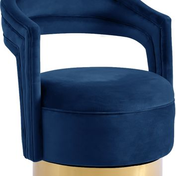Petrona Navy Velvet Accent Chair